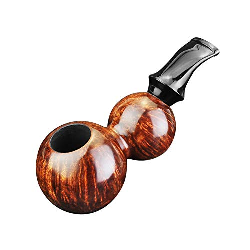 FULUSHOU Mediterranean Briar Wood Tobacco Pipe, Gourd Type Mini Carving Bend Tobacco Pipe,Dad Gift