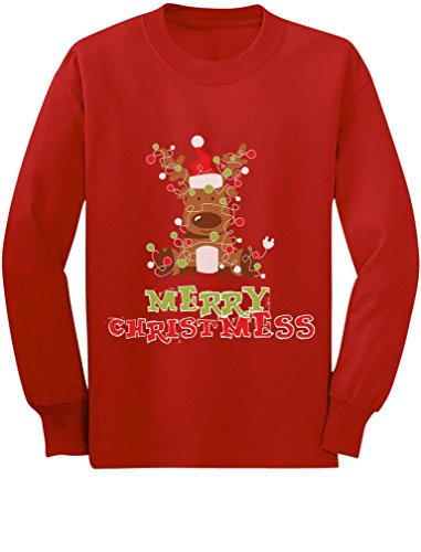 Merry Christmess Cute Reindeer Xmas Lights Toddler/Kids Long Sleeve T-Shirt 3T Red (Reindeer Lights Xmas)