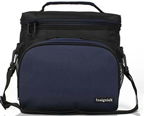 Insulated Lunch Bag: InsigniaX Adult Lunch Box For Work, Men, Women With Adjustable Strap, Front Pocket and Side Pocket [Unisex Lunch Bags] H: 8.4' x W: 6.3' x L:9.1' (Large, Black and Navy Blue)