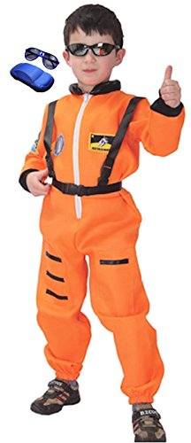 [Cohaco Kid's Astronaut Air Force Flight Suit Role Play Costume with Glasses (Small, Astronaut Orange)] (Orange Astronaut Suit)