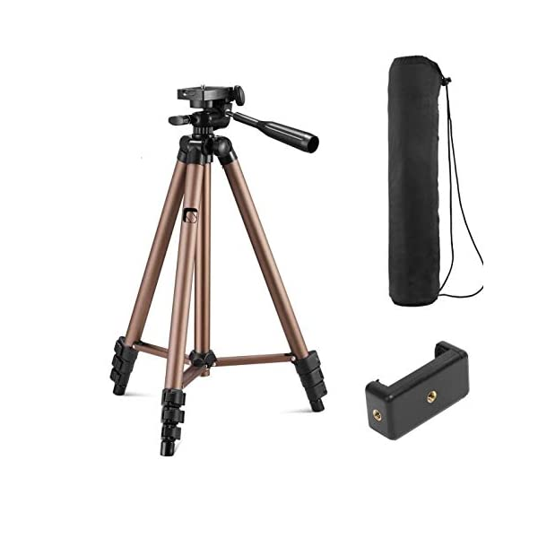 RetinaPix Syvo WT 3130 Aluminum Tripod (50-Inch), Universal Lightweight Tripod with Mobile Phone Holder Mount & Carry Bag for All Smart Phones, Gopro, Cameras