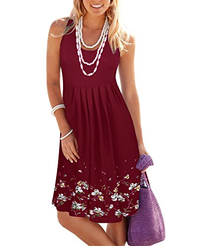 KILIG Women Summer Casual Dress Loose Print Pleated Sleeveless Mini Vest Sun Dresses for Beach Wedding Party(Wine,XXL)