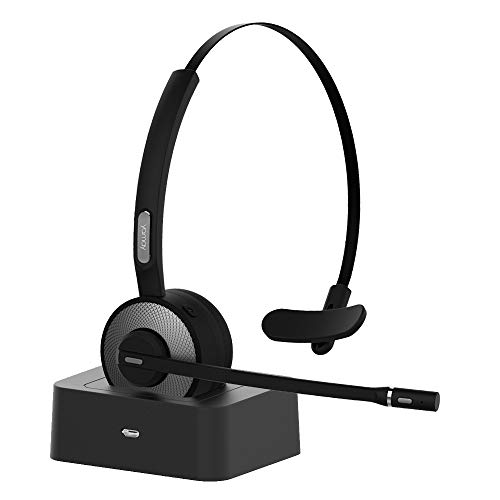 Bluetooth Headset, YAMAY Wireless Headset with Microphone (Noise Cancelling Mic) Charging Base Mute Button 19H Clear Talk Time Pro for Truck Driver Office Buiseness Call Center Home Smartphones PC