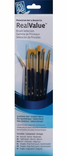 (Princeton Artist Brush, Set 9133 6-Piece Gold Taklon)