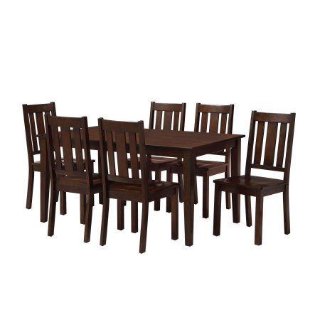 7-piece dining set finished in mocha.
