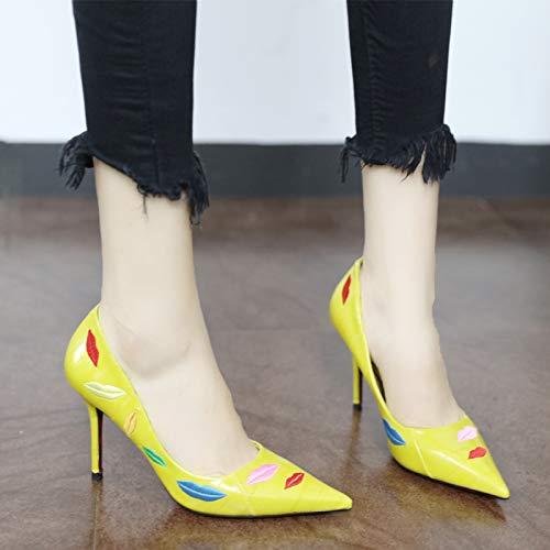 con tacco spillo sexy punta ricamata YMFIE alto A temperamento ricamo moda di a Scarpe a wtIxfT