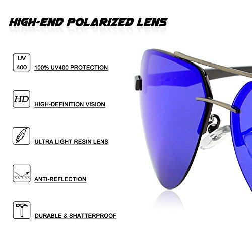 Al Premium Bleu Mg Gris 2 Hinges MOS1 polarisées lunettes soleil Pilote Spring GQUEEN de gtwadqa