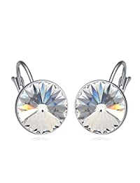 Elegant 18 ct White Gold Plated White Round Crystals from Swarovski Dangle Earrings