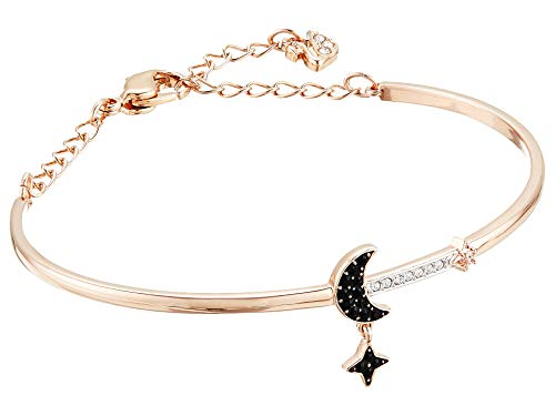 - Swarovski Crystal Duo Moon Black Rose Gold-Plated Bangle