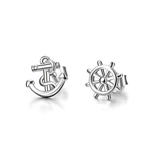 (LUHE Anchor Earrings Sterling Silver Hypoallergenic Studs Nautical Theme Anchor Jewelry for Women Girls)