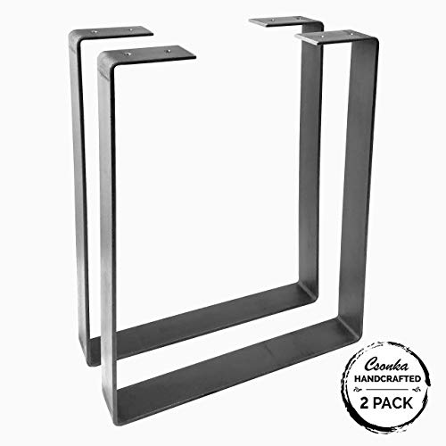 "2 Pack - (1.5"" Wide - 3/16"" Thick Metal) (Size Range: 8-12""L x 8-24""H) U Shape Legs, Hairpin Legs, Coffee Table Legs, Furniture Legs, Bench Legs, Desk Legs, Industrial Modern, Home, DIY"
