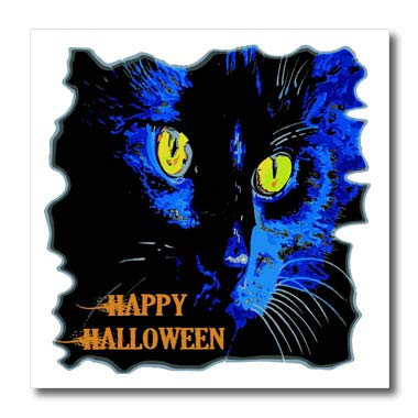 3dRose Taiche - Vector - Halloween Black Cat - Cute Happy Halloween Moonlight Black Cat Vector - 6x6 Iron on Heat Transfer for White Material (ht_299340_2)