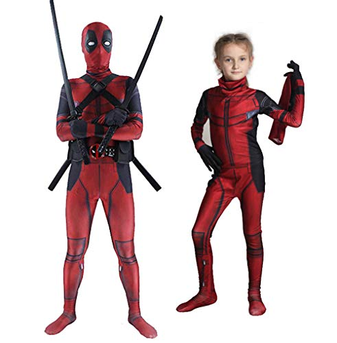 Unisex Lycra Spandex Zentai Halloween Cosplay Costumes Suit Adult/Kids 3D Style (Kids-S) Red -