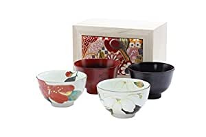 Japanese MinoWare Rice Bowl & Soup Cup Set in Wooden Gift Box (Rice Bowl x 2 & Soup Cup x 2) (Japanese Import)