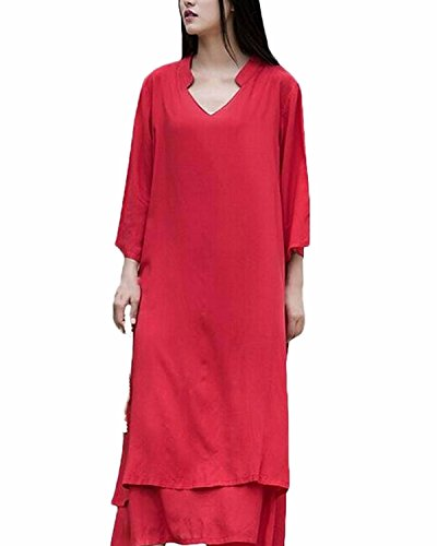 ZANZEA Mujer Vestido Suelto Largo De Lino Vendimia Cuello V flojo Irregular Algodón Rojo