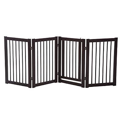 """Festnight Pet Dog Freestanding Safety Fence Panel Wooden Folding Indoor Gate 30"""""""