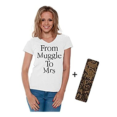 Awkwardstyles From Muggle To Mrs Boxy Crewneck Flowy Crop Top Shirt + Bookmark XL White