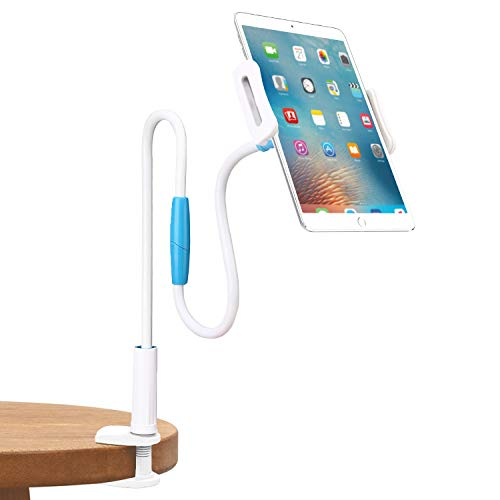 MoKo Gooseneck Tablet Mount,Flexible Long Arm Phone Holder with Adjustable Clamp,Fit iPad Pro 11/10.5/Air/Mini 2 3 4,Galaxy Note 10 Plus 6.8/Note 10 6.3/S10,iPhone Xs Max/XR,Kindle Fire Tablet, White