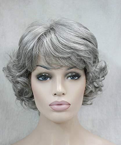 WMHF Atuendos de rendimiento de escenario peluca blanca cabello de mujer cabello corto y rizado tapa