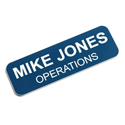 Custom Engraved Name Tag Badges - Personalized Identification with Pin or Magnetic Backing, 1 Inch x 3 Inches, Blue/White
