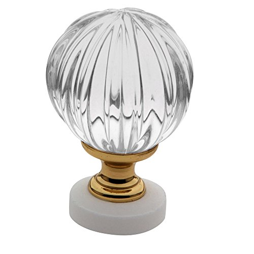 Baldwin Estate 4305.030 Crystal Round Cabinet Knob in Polished Brass, 1.46