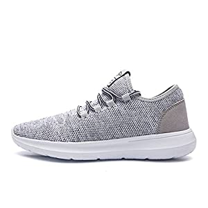 keezmz Men's Running Shoes Fashion Breathable Sneakers Mesh Soft Sole Casual Athletic Lightweight Gray-45