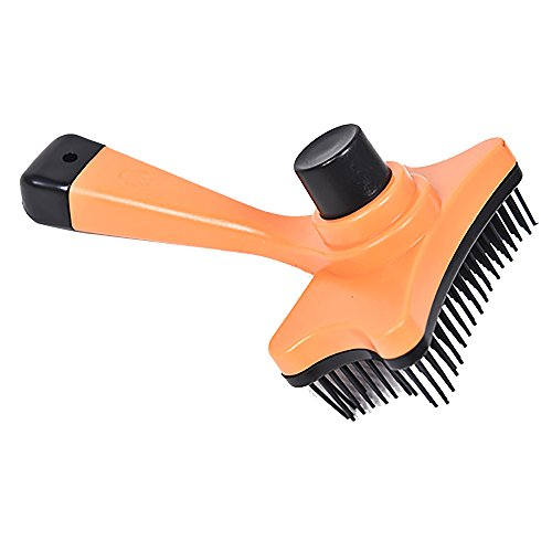 Pet Grooming Tool, PYRUS Self-Cleaning Slicker Brush for Small Medium
