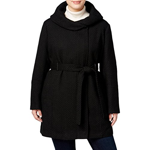Calvin Klein Womens Plus Hooded Long Sleeve Coat Black 2X by Calvin Klein