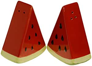 Certified International Fruit Splash 3D Ceramic Watermelon Salt and Pepper Set, 3-1/-Inch