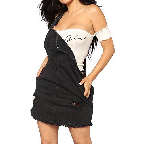 Compatta Regular Corti Nero Siamesi Moda Pantaloni Romper Jeans Estate Elegante Donna gq7pqwSZ