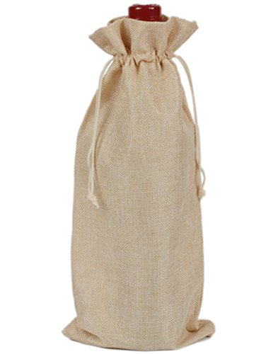 Mistari 6 Pack Burlap Linen Wine Bags With Drawstrings Wine Bottle Protector Portable Travel Accessory Party Wedding Favor Gift Bags Cream