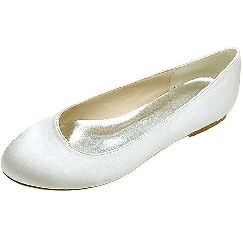 Loslandifen Mujeres Sparking Lentejuelas Pisos Elegante Punta Redonda Boda Ballet Zapatos De Novia Marfil Satinado