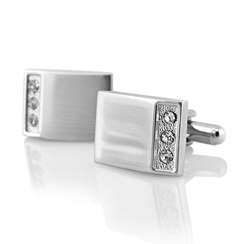 INSTEN Classic Vintage Cufflinks for Shirts Suit Business Gift, Silver Rectangle Cufflinks with 3 Rhinestones