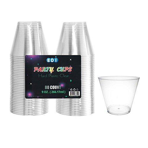 EDI 9-Ounce Clear Hard Plastic Party Cups Old Fashioned Tumblers 80-Count