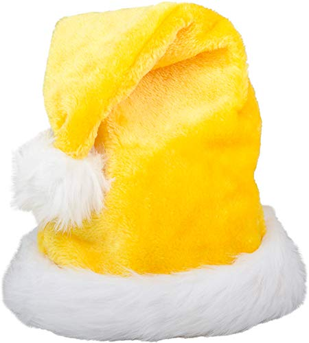 (Christmas Yellow Plush Faux Fur Trim Santa Hat Costume)