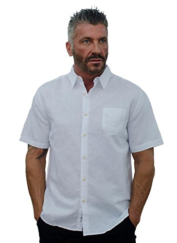Short Fin Short Sleeve Button Down Linen Shirt (Size Large, White L8040) ()