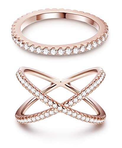 ORAZIO Eternity Bands Stackable Rings for Women CZ X Criss Cross Rings Set Size 6