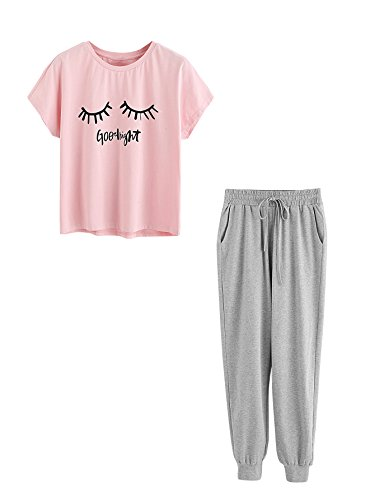 DIDK Women's Crewneck Eye Print Tee and Pants Pajama Set Pink & Grey -