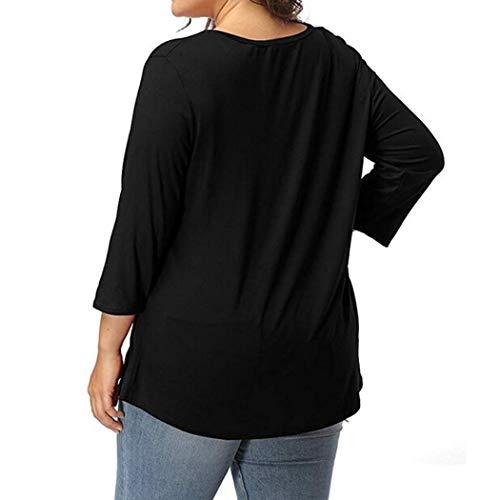 Col Manches Noir Rond Shirt Femmes AIMEE7 Haut T Tee Tops Shirt Casual Grande 3 4 Taill USWq1afWz