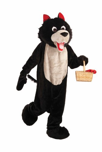 (Forum Deluxe Plush Wolf Mascot Costume, Black, One)