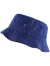 THE HAT DEPOT Youth Kids Washed Cotton Packable Bucket Travel Hat Cap (7-10yrs, Royal Blue)