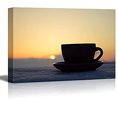 Canvas Prints Wall Art - Romantic Winter Evening with a Cup of Coffee/Tea in Rays of Sunset | Modern Wall Decor/Home Decoration Stretched Gallery Canvas Wrap Giclee Print & Ready to Hang - 32