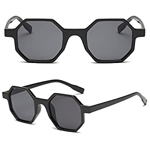 Xumeili Square Geometric Sunglasses Women Eyewear Fashion Brand Designer Vintage UV400 (Black gray)