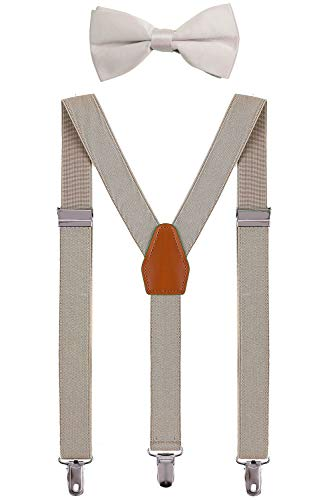 BODY STRENTH Babies Suspenders and Bow Tie Set Adjustable Elastic Khaki 22 Inches