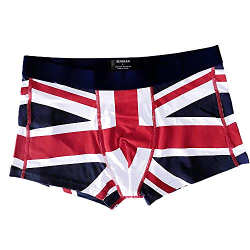 Men's 1 Pair Magic Cotton Boxer Briefs Underwear in Union Jack Pattern,Soft Breathable Shorts Bulge Pouch Underpants Dark Blue