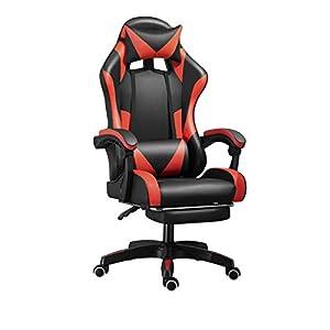 Chaise de Bureau Fauteuil Ergonomique Dossier Réglable Inclinable avec Repose-Pieds (Noir&Rouge)