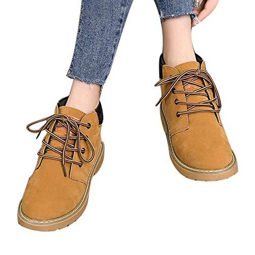 Gelb Boots Stiefel Boot Stiefel Stiefel Mode Motorrad Freizeitschuhe Martin Ferse Damen Boots Ankle Stiefel Frauen ABsoar Platz Schnürstiefel Klassische YwqU84