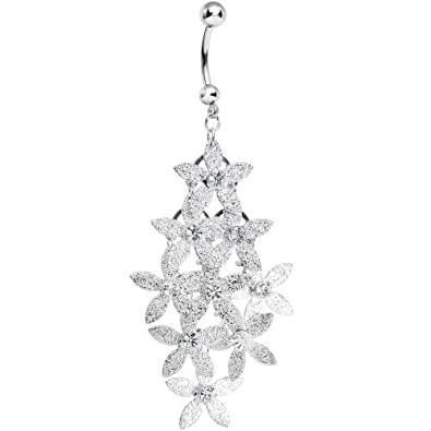 Clear gleaming tower of flowers chandelier belly ring body candy clear gleaming tower of flowers chandelier belly ring mozeypictures Images