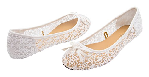 Sara Z Womens Mesh & Lace Openwork Crochet Slip On Ballet Flat with Bow Size White 7-8