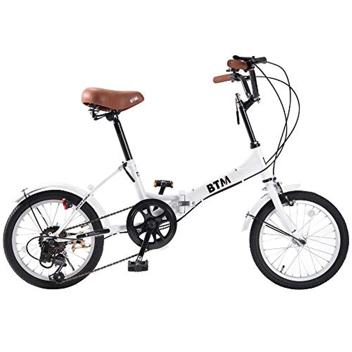 [해외] BTM 접이식 자전거 통근 통학 자전거 16인치 시마노6 단변속 경량 라이트 부착 열쇠 부착